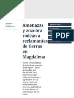 Amenazas y Zozobra Rodean a Reclamantes de Tierras en Magdalena