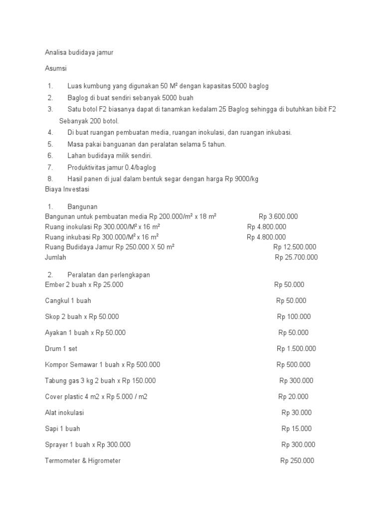 Analisa Budidaya Jamur Ayakan Baglog 1526675317v1