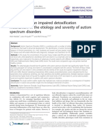 A Key Role for an Impaired Detoxification Mechanism in the Etiologi of ASD