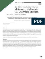 Estimación del diámetro, altura y volumen a partir del diámetro del tocón para Quercus laurina, en Ixtlán, Oaxaca, México