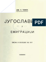 Југославија у Емиграцији ; Писма и Белешке из 1917. (1921.Год.) - Јован Н. Томић