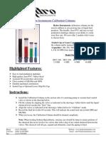 Calibration Column Data Sheet