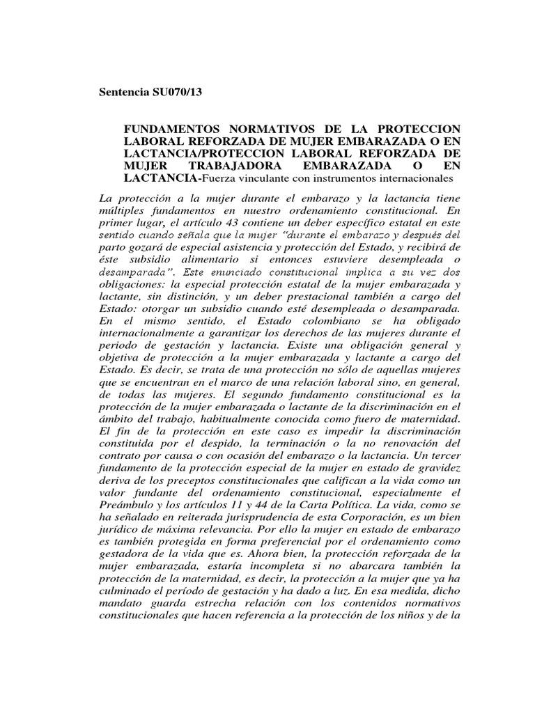 sentencia de la corte constitucional de Colombia SU070-13