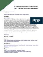 La Scuola Nelle Corti Tardo Medievali d'Italia