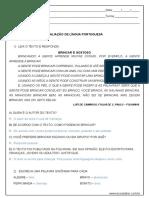 Avaliacao de Lingua Portuguesa 2º Ano Respostas