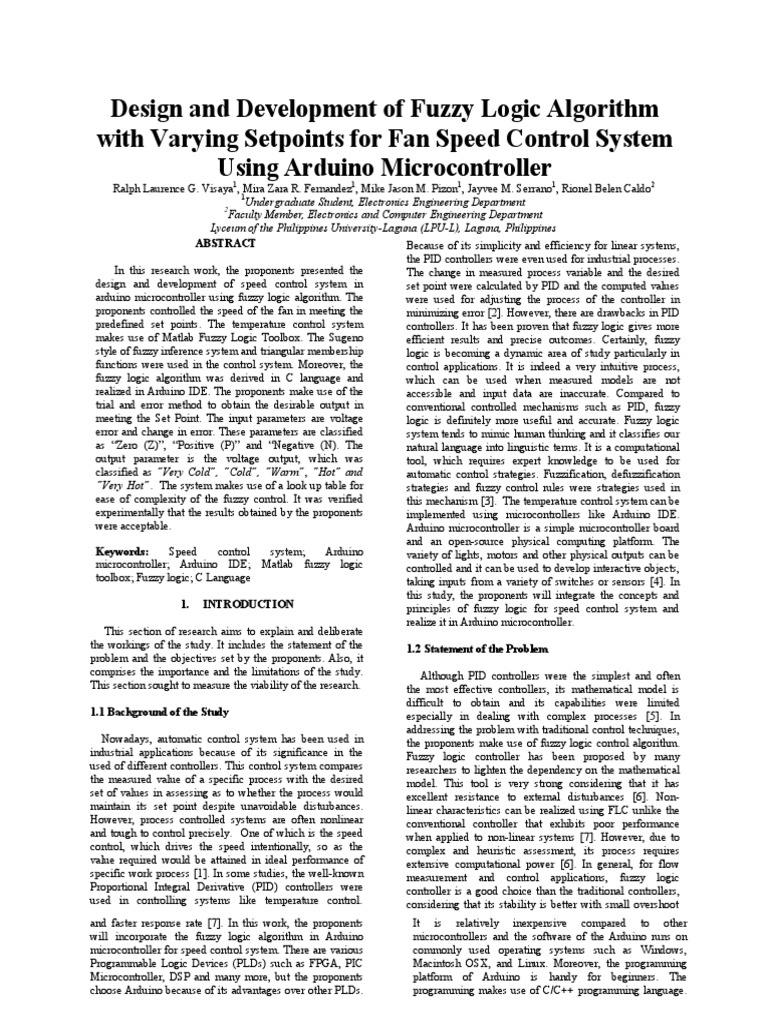 Design and Development of Fuzzy Logic Algorithm With Varying