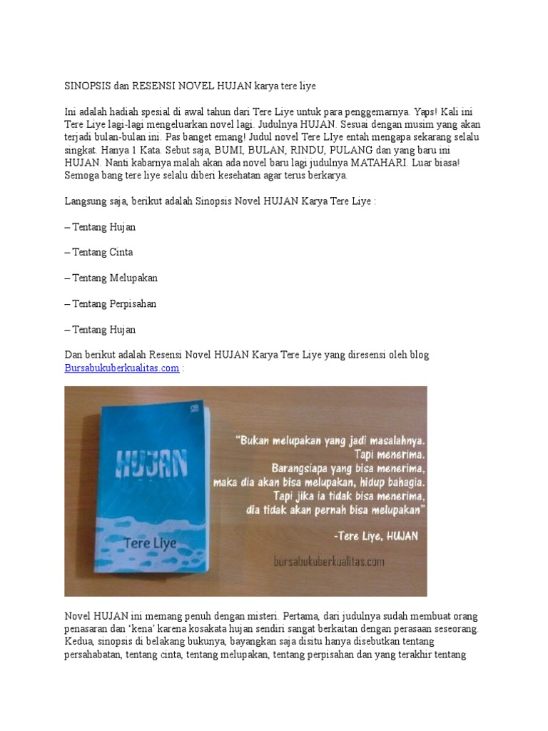 download hujan tere liye pdf