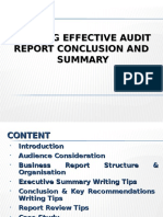 Audit Report Summary and Conclusion