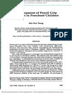 Development of Pencil Grip Position in Preschool Children TSENG-1998