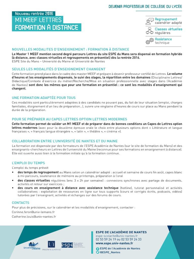 Calendrier Univ Nantes.M1 A Distance Formation A Distance Enseignants