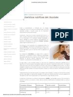 Características Nutritivas Del Chocolate
