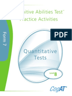 Practice Activities Quantitative Level 8