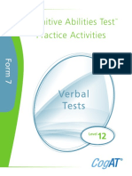 Practice Activities Verbal Level 12