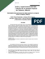 Germinación y supervivencia de seis especies nativas de un bosque tropical de Tabasco, México