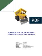 PR-PM-009 Elaboración de Programas Personalizados