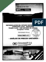 Análisis Precios Unitarios - Carretera