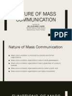 Nature of Mass Communication