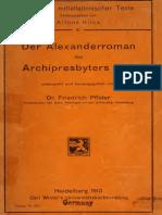 Pfister, - Der Alexanderroman (1913)