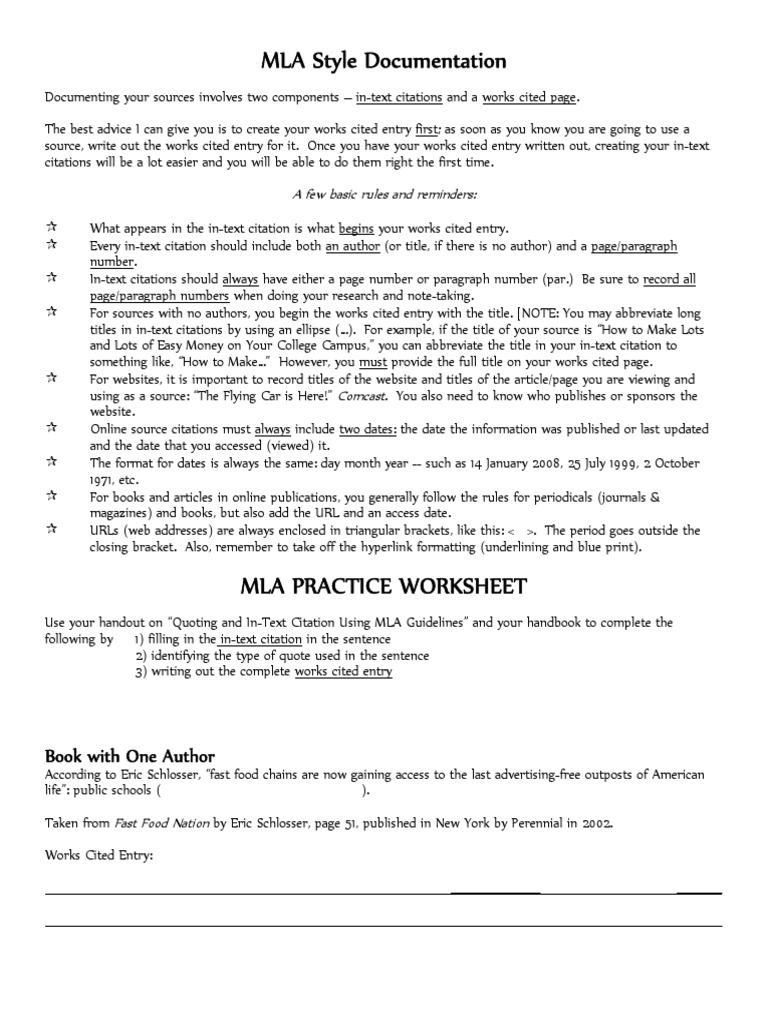 mla citation rules