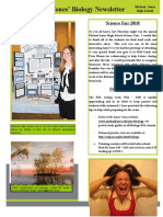 Secondary Grade Level Biology Newsletter