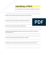 evaluating a pitch worksheet