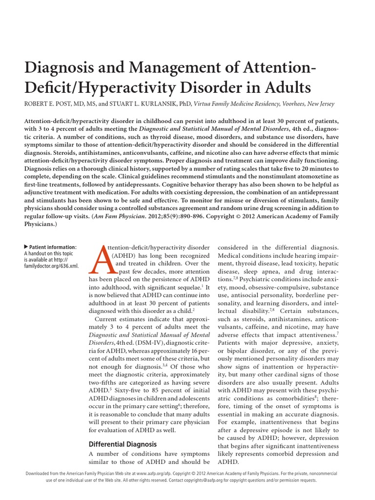 ADHD Adults.pdf | Attention Deficit Hyperactivity Disorder | Diagnostic And  Statistical Manual Of Mental Disorders
