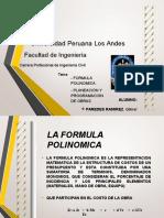 - FORMULA POLINOMICA, PLANEACIÓN Y PROGRAMACIÓN DE OBRAS