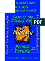 00043  Mystery Party Game - Case of the Missing Ring Mystery Party Game and Kit for 5, 8 or 10 girls ages 9 to 12 and 2 adults or older teens.  Theme can be an overnight or one day event.