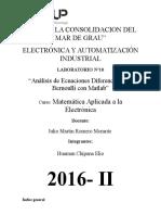 Análisis de Ecuaciones Diferenciales de Bernoulli Con Matlab