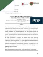 Gender Disparity in Pakistani Media Organizations in the Digital Age