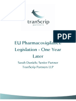 EU Pharmacovigilance Legislation One Year Later Commentary 300913