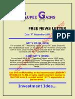 Rupee Gains Free News Letter for 7th November 2016