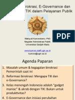Reformasi Birokrasi, E-Gov Dan TIK Dlm Pelayanan Publik