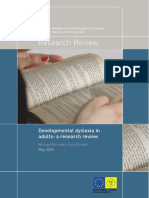 Developmental Dyslexia in Adults - A Research Review