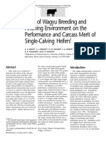 Effects of Wagyu Breeding and Finishing Environment on the Performance and Carcass Merit of Single-Calving Heifers1