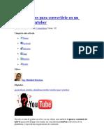 Siete Consejos Para Convertirte en Un Conocido Youtuber