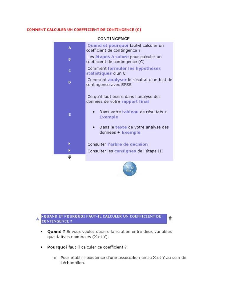 Comment Calculer Un Coefficient De Contingence Hypothese Nulle Hasard