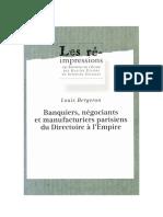 Bergeron - Les Milieux d'Affaires Parisien Début 19e
