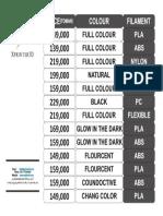 Price List Filament Xprinter3d