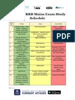 Railways RRB Mains Exam Study Schedule