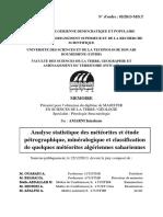 Analyse Statistique Des Météorites Et Étude Pétrographique, Minéralogique Et Classification de Quelques Météorites Algérienne Saharienne