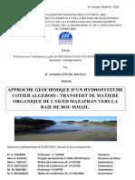 Approche Géochimique d'Un Hydrosystème Côtier Algérois