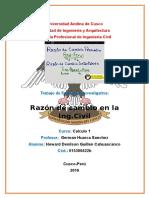 Razon de cambio en la ingenieria civil