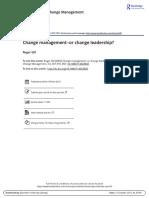 Change Management or Change Leadership