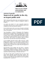 Improved Air Quality in the City, An Urgent Public Need