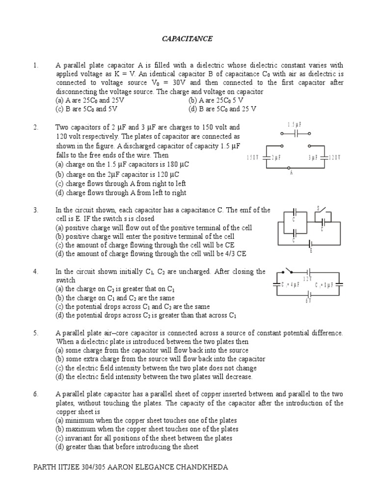 09 Capacitance Series And Parallel Circuits Capacitor The Cells Are Connected In All