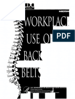 Work Place Use of Back Belts