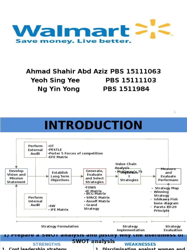 walmart sfas matrix and a tows matrix