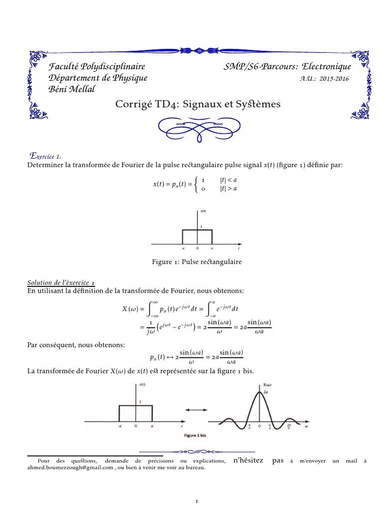 Td4 Corrige Enseignement Des Mathematiques Analyse Mathematique