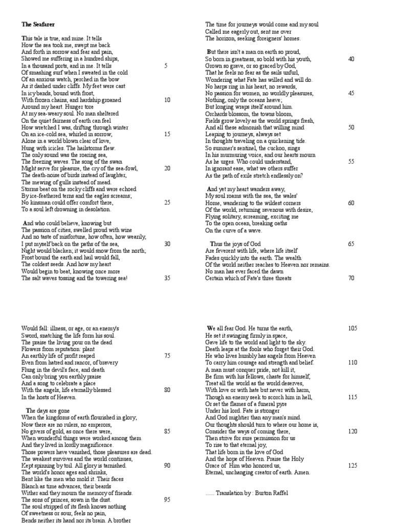 the seafarer poem by burton raffel
